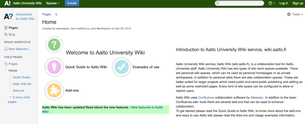 Aalto University Confluence Dashboard