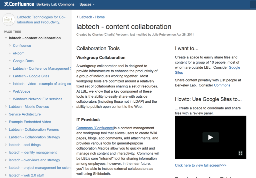 Berkeley Lab at the University of California uses Confluence