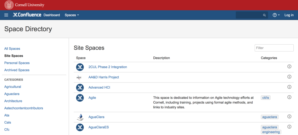 Cornell University Space Directory in Confluence