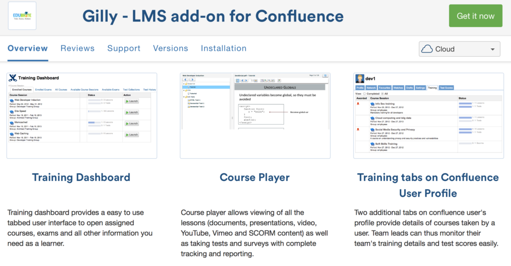 Gilly a Confluence LMS Add-on