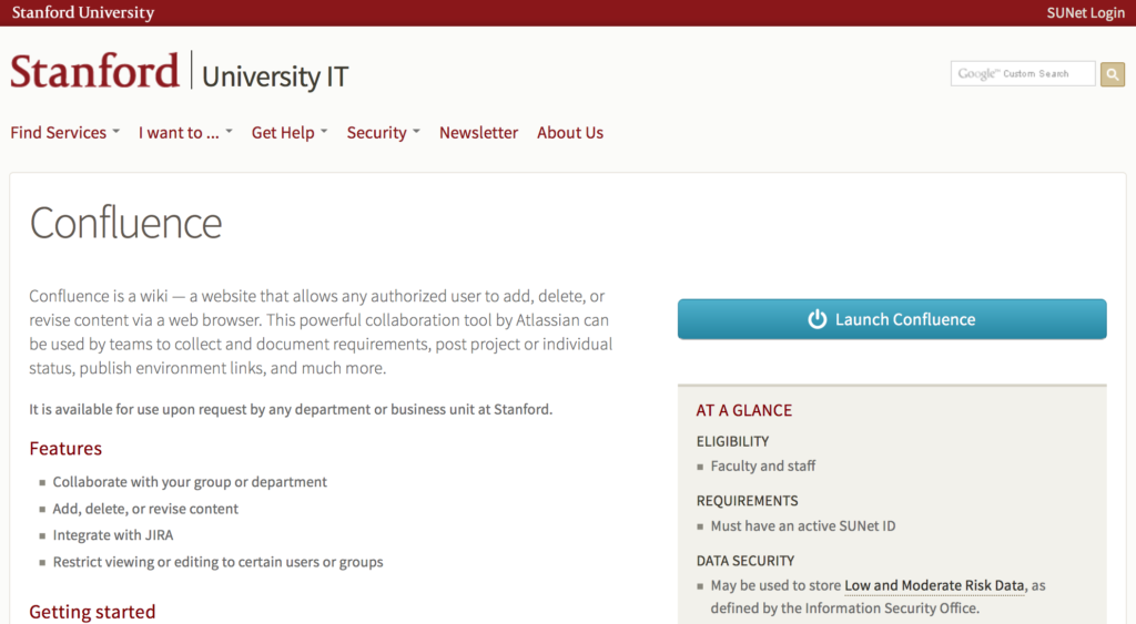 Stanford University's Confluence service