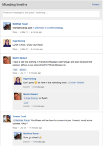 Example microblog in Confluence.
