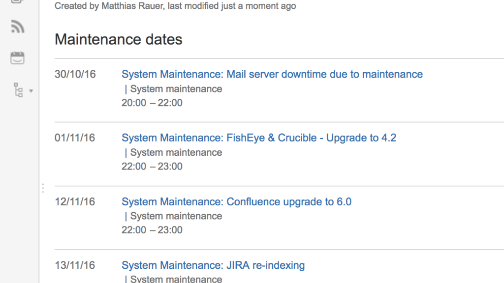 Easy Events: IT Maintenance Dates