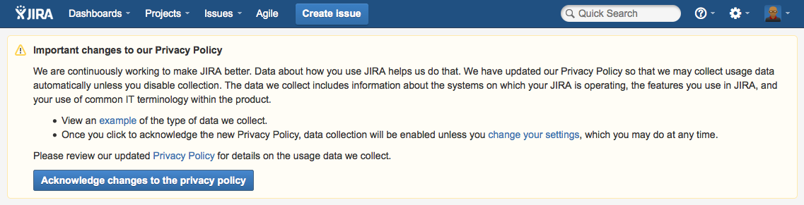 Atlassian Analytics - Privacy policy warning in JIRA