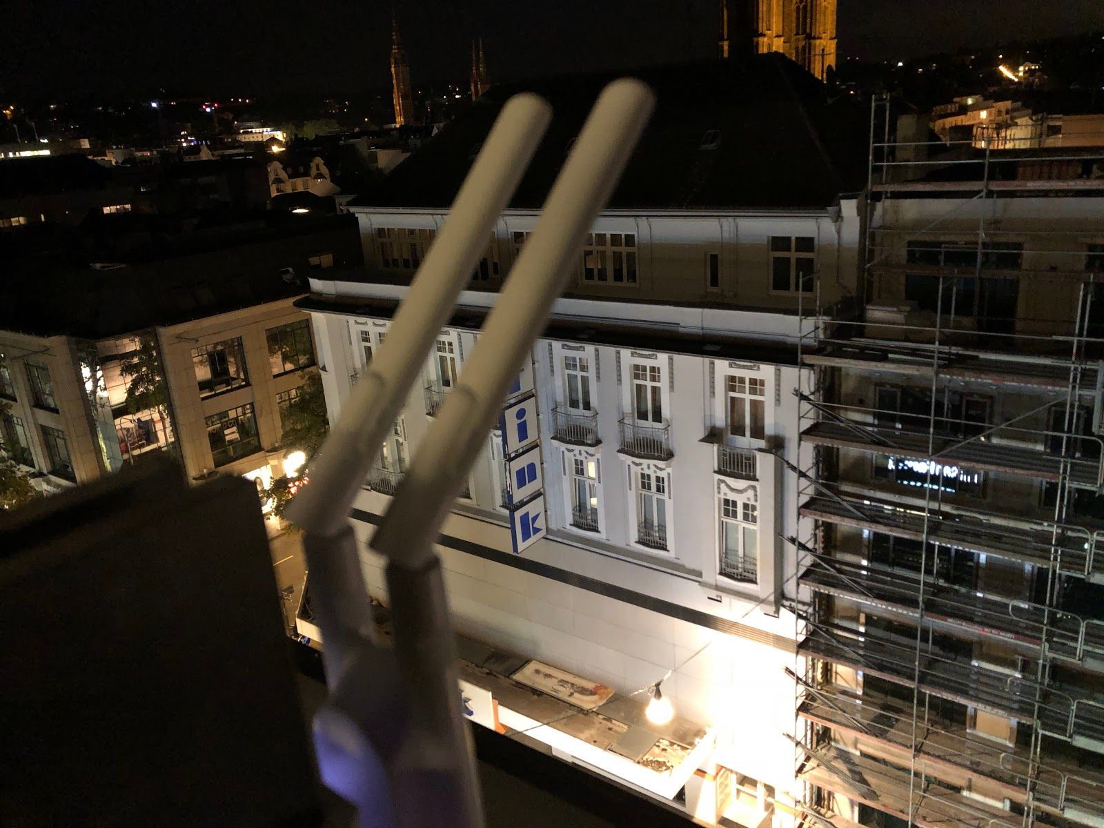 Community Wi-Fi hotspot at night in Wiesbaden