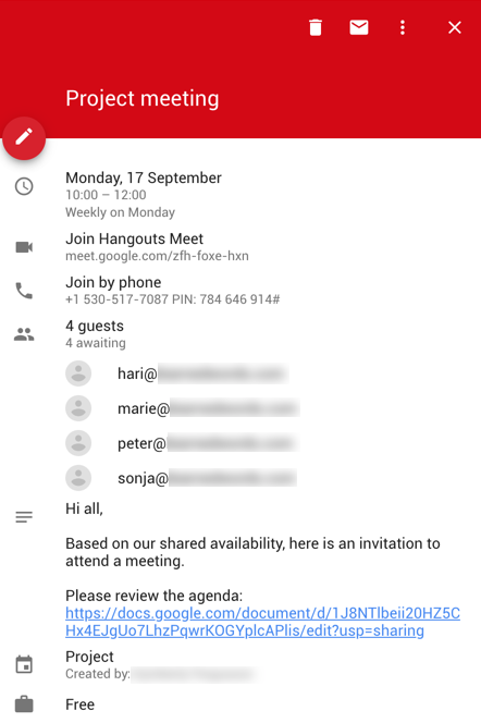 Better meetings with Google G Suite: Schedule