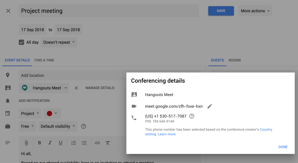 Better meetings with Google G Suite: Conference details