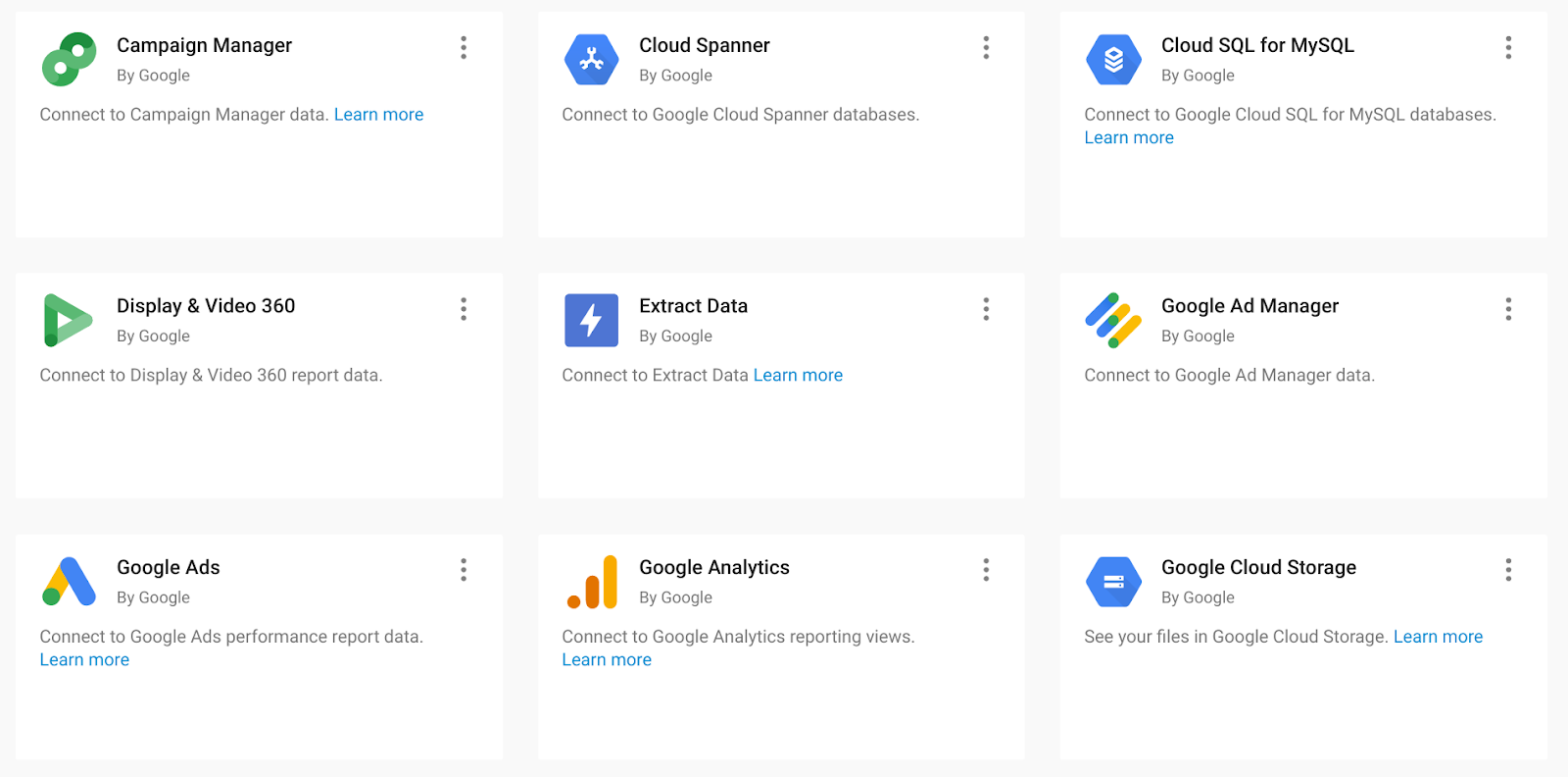 Google Data Studio has many connectors available