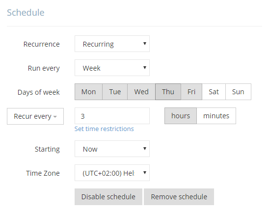 Schedule recurring updates.