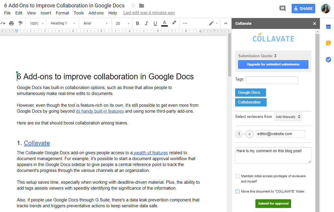 Collavate for Google Docs