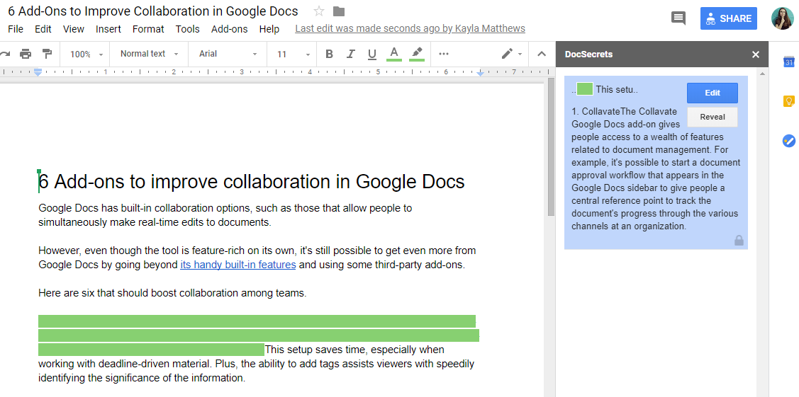 DocSecrets for Google Docs