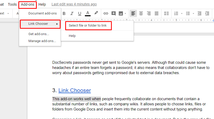 Link Chooser for Google Docs