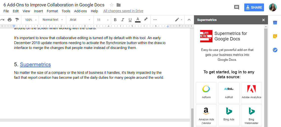 Supermetrics for Google Docs