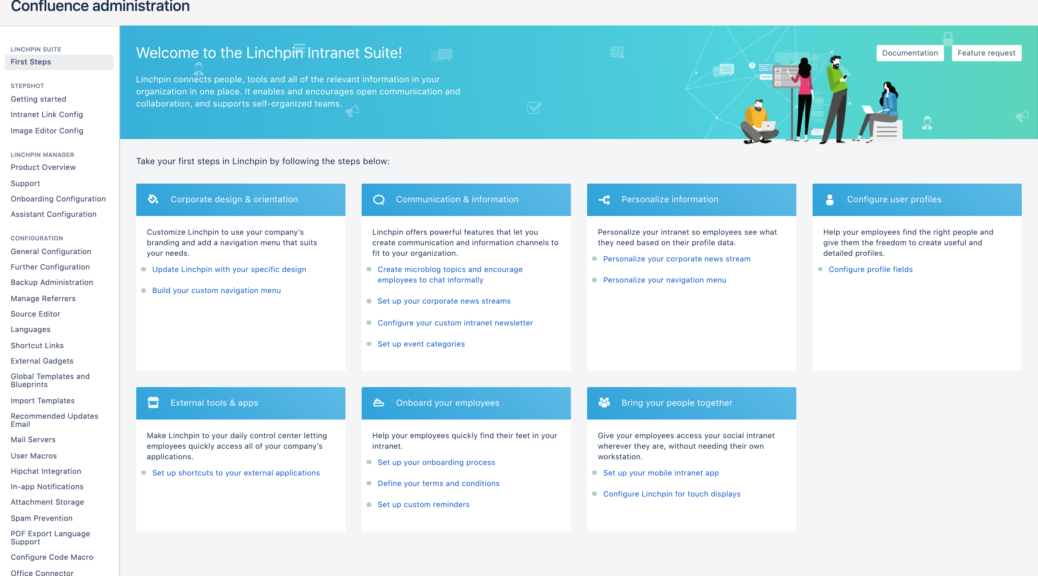 Linchpin Intranet Suite - Admin dashboard