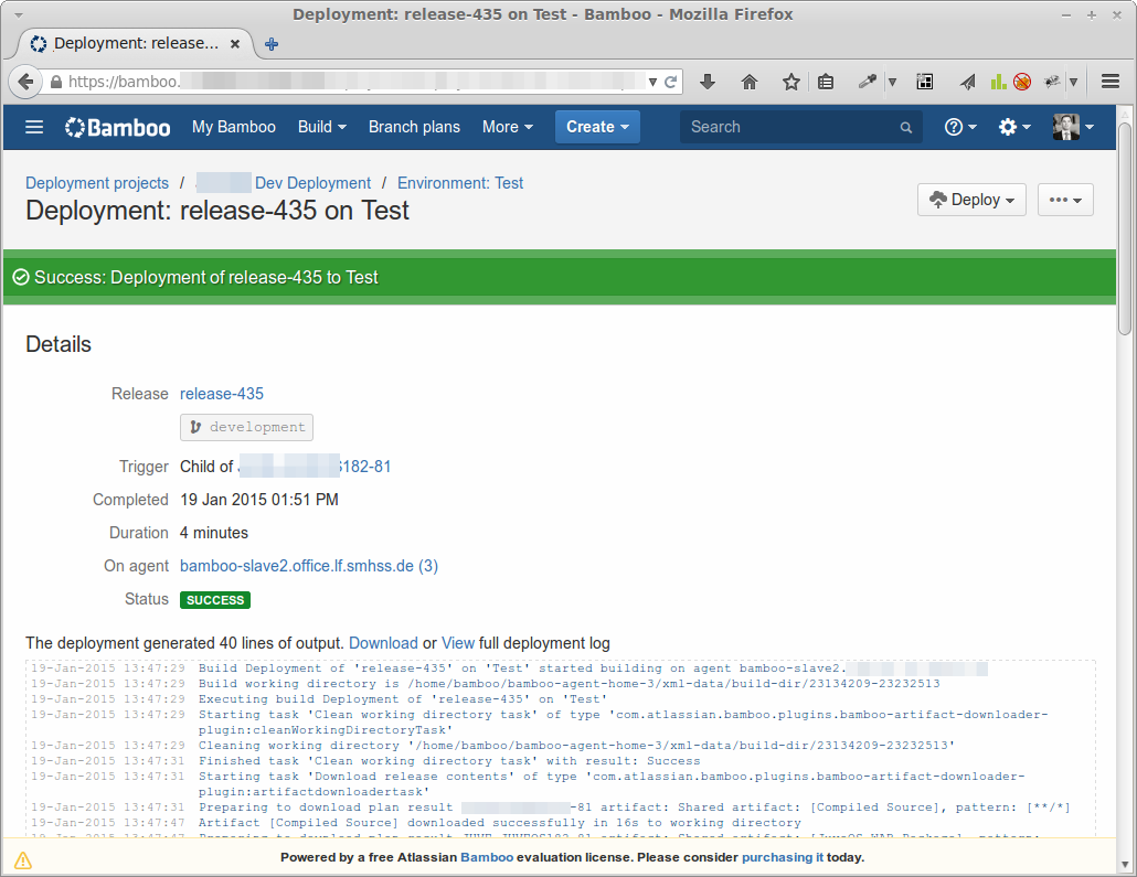 Deployment using the Bamboo integration server