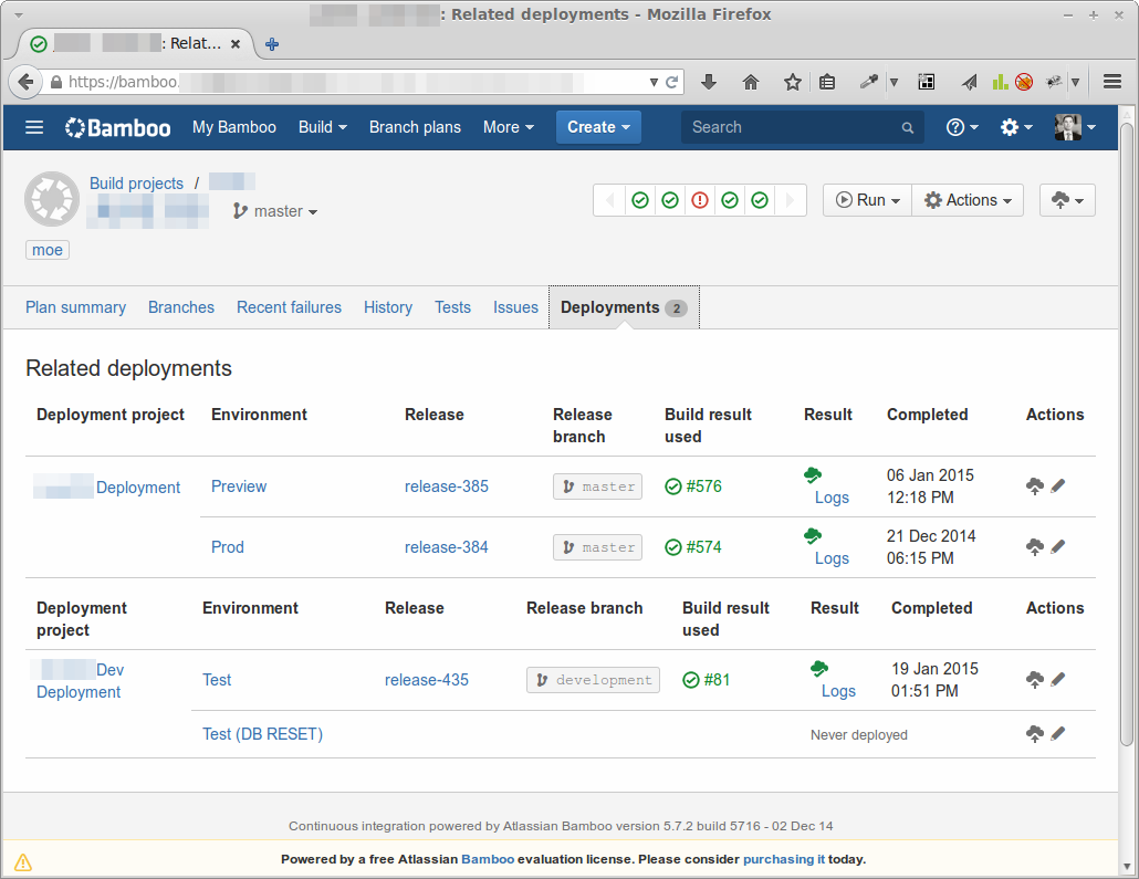 Deployment pipeline overview in the Bambooo integration server