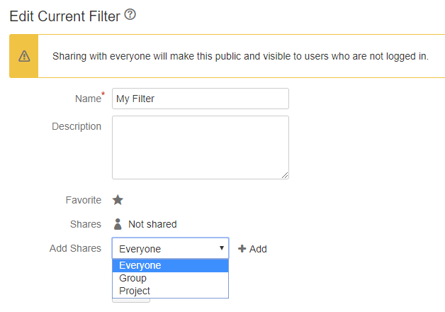 Sharing settings in Jira version 7.2.2 and older