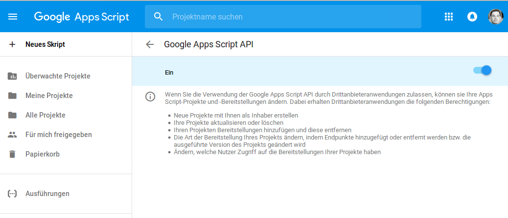 Activate Google App Scripts API (German UI)