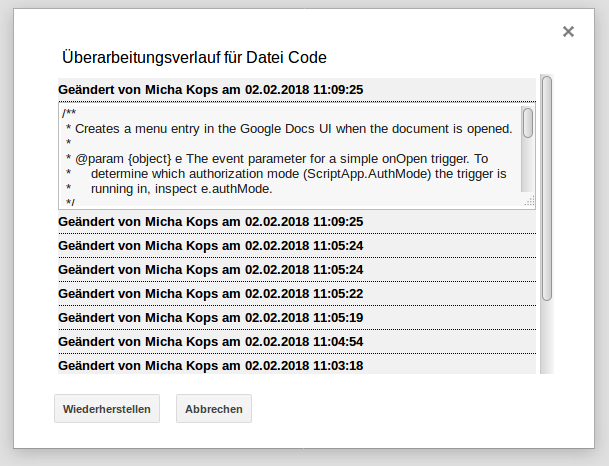 Google Apps Script - change history of project files (German UI)