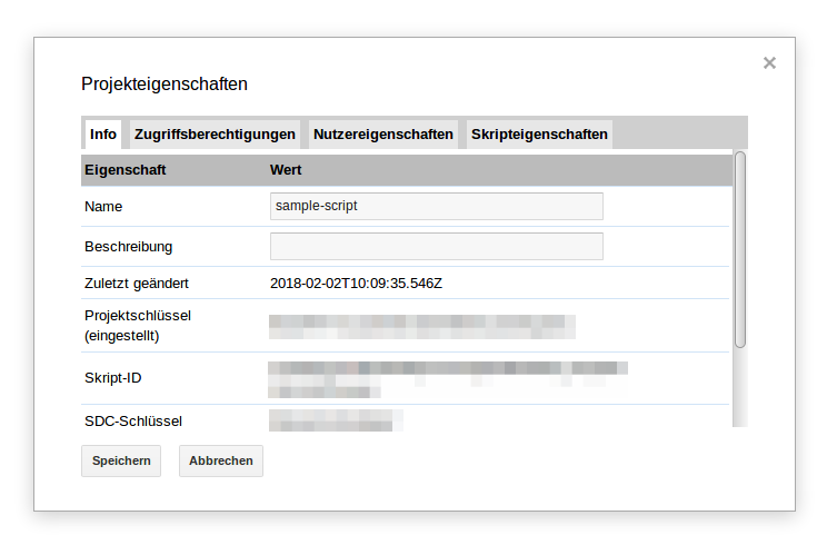 Project properties for a Google Apps Script project (German UI)