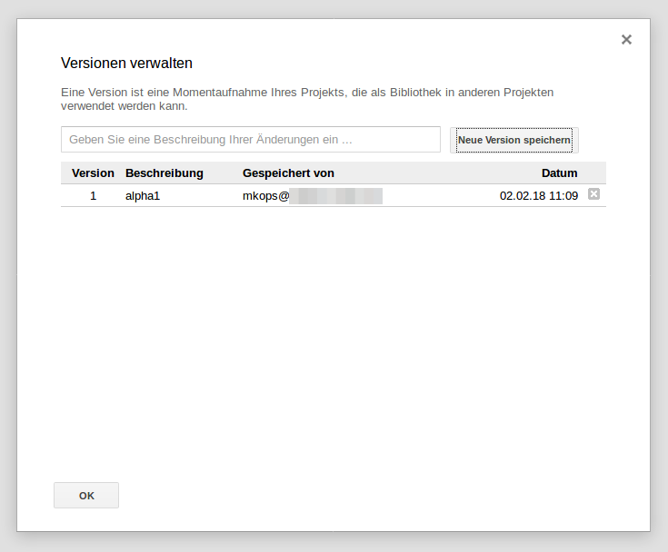 Google Apps Scripts - working with versions (German UI)
