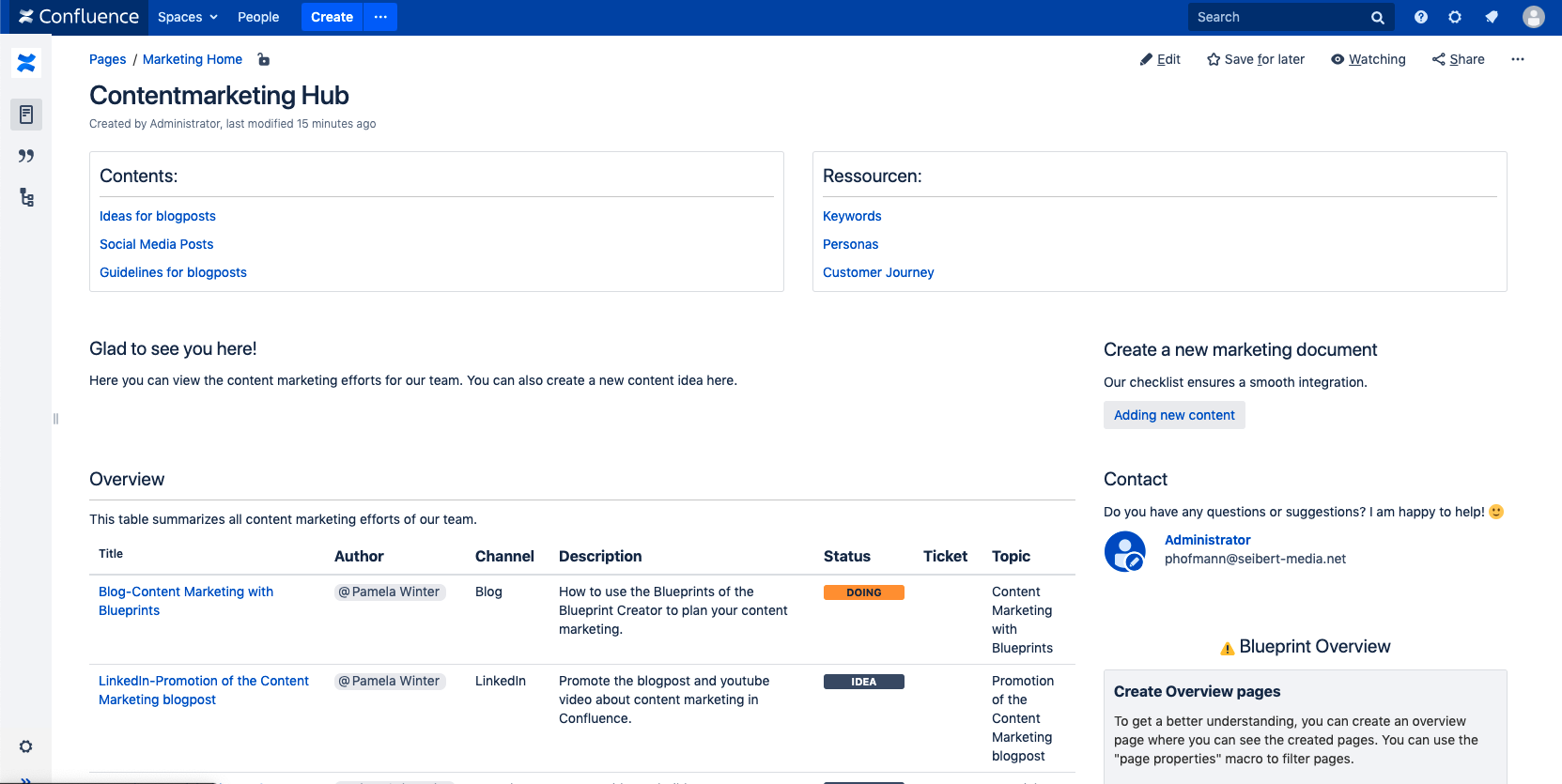 Content Marketing with Blueprint Creator in Confluence
