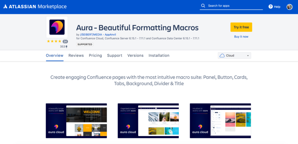 Aura for Confluence Cloud