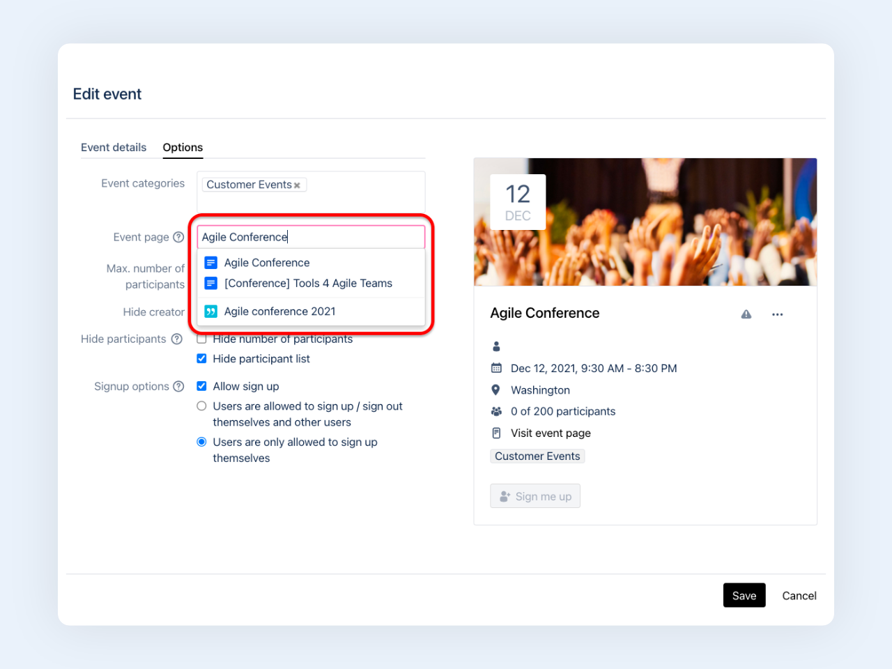 Linchpin Events - Link events with blog posts