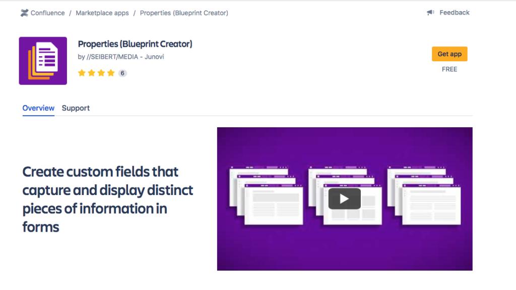 Properties Blueprint in the Atlassian Marketplace