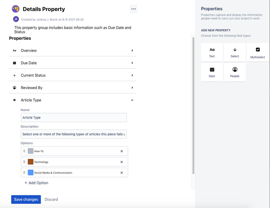 add property group to Atlassian Confluence